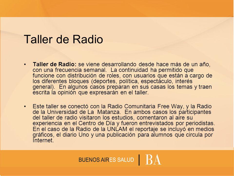 Taller de Radio Taller de Radio: se viene desarrollando desde hace más de un año, con una frecuencia semanal. La continuidad ha permitido que funcione