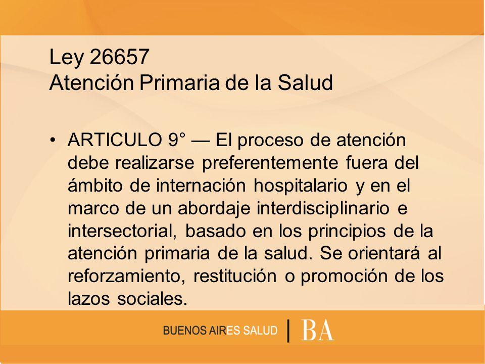 Ley 26657 Atención Primaria de la Salud ARTICULO 9° El proceso de atención debe realizarse preferentemente fuera del ámbito de internación hospitalari