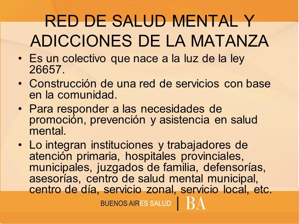 RED DE SALUD MENTAL Y ADICCIONES DE LA MATANZA Es un colectivo que nace a la luz de la ley 26657. Construcción de una red de servicios con base en la