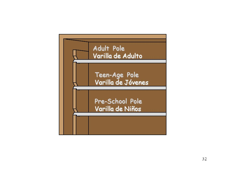 32 Adult Pole Varilla de Adulto Teen-Age Pole Varilla de Jóvenes Pre-School Pole Varilla de Niños