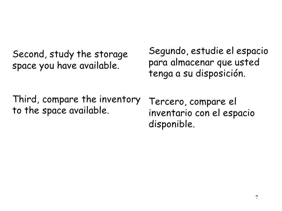 7 Second, study the storage space you have available. Third, compare the inventory to the space available. Segundo, estudie el espacio para almacenar