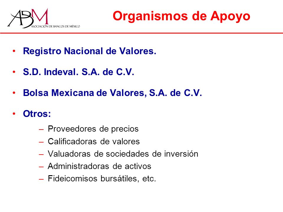 Organismos de Apoyo Registro Nacional de Valores.S.D.