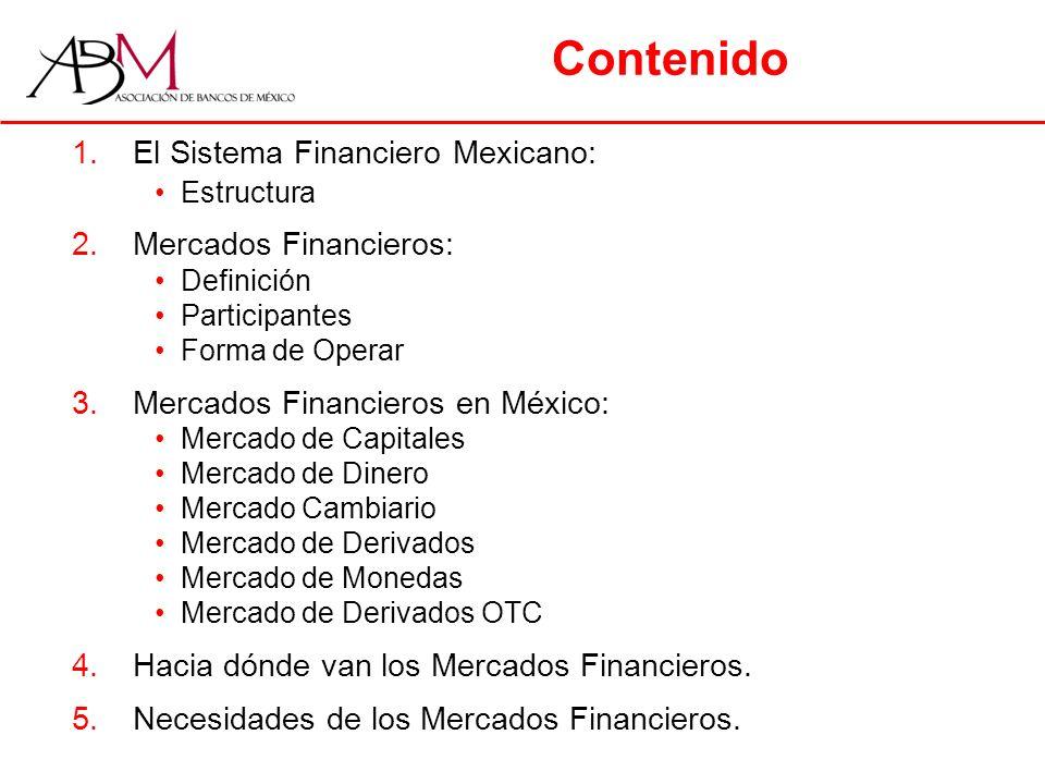 Contenido 1.El Sistema Financiero Mexicano: Estructura 2.Mercados Financieros: Definición Participantes Forma de Operar 3.Mercados Financieros en México: Mercado de Capitales Mercado de Dinero Mercado Cambiario Mercado de Derivados Mercado de Monedas Mercado de Derivados OTC 4.Hacia dónde van los Mercados Financieros.