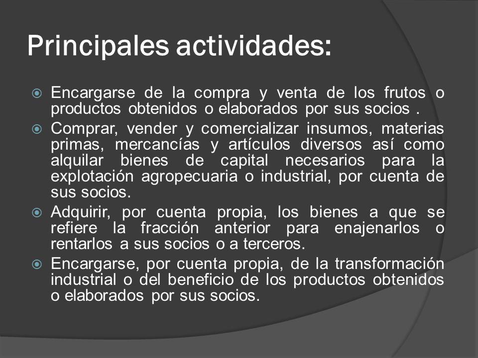 Principales actividades: Encargarse de la compra y venta de los frutos o productos obtenidos o elaborados por sus socios. Comprar, vender y comerciali