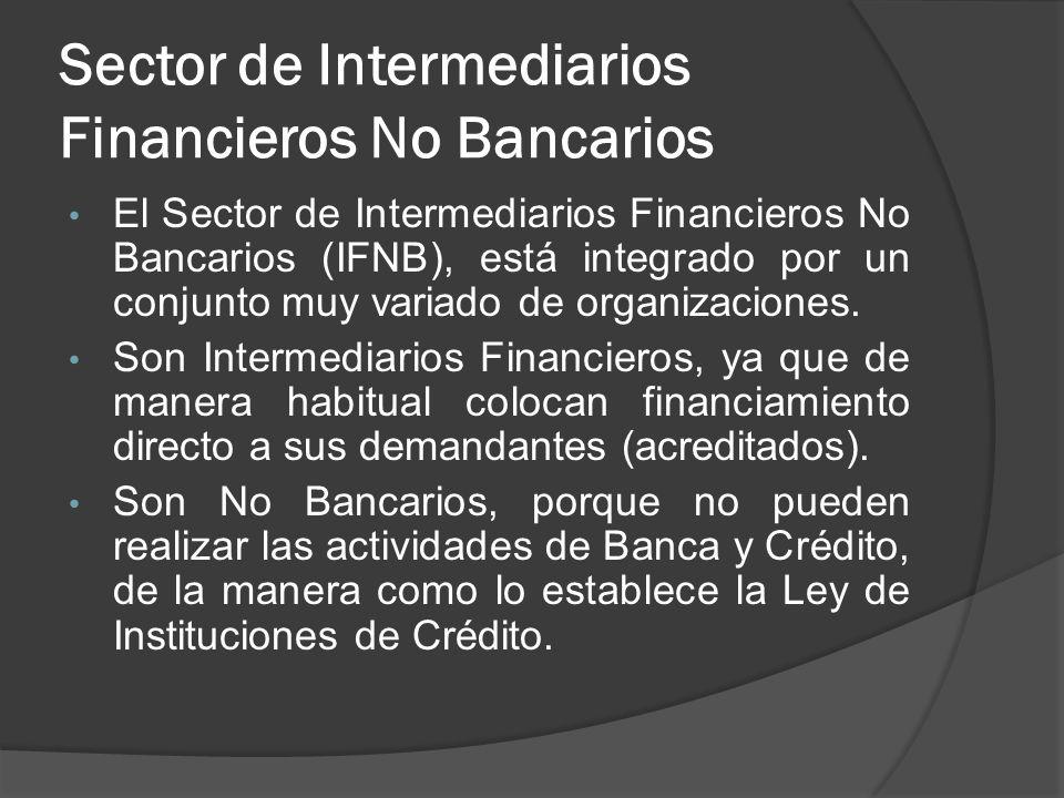 Sector de Intermediarios Financieros No Bancarios El Sector de Intermediarios Financieros No Bancarios (IFNB), está integrado por un conjunto muy vari