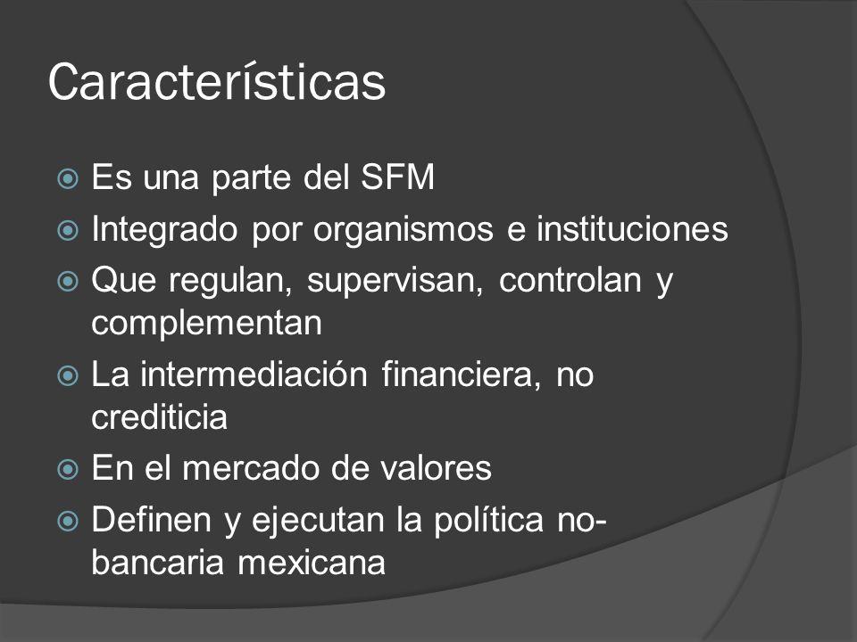 Características Es una parte del SFM Integrado por organismos e instituciones Que regulan, supervisan, controlan y complementan La intermediación fina