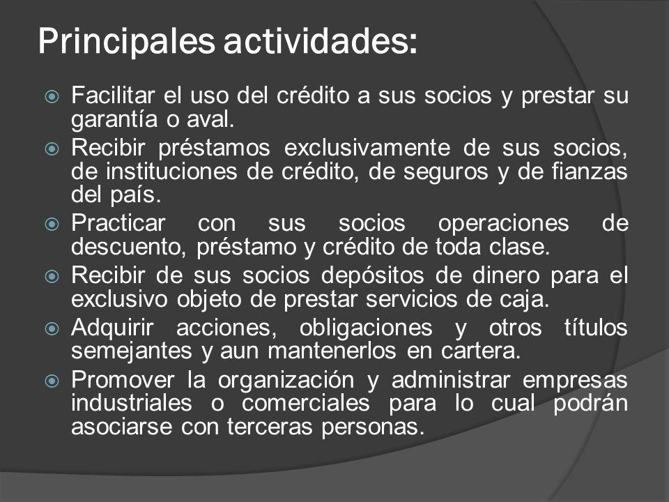 Principales actividades: Facilitar el uso del crédito a sus socios y prestar su garantía o aval. Recibir préstamos exclusivamente de sus socios, de in
