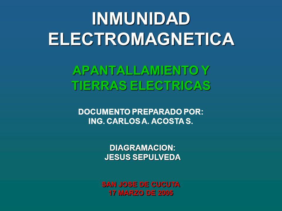 INMUNIDAD ELECTROMAGNETICA APANTALLAMIENTO Y TIERRAS ELECTRICAS DOCUMENTO PREPARADO POR: ING.