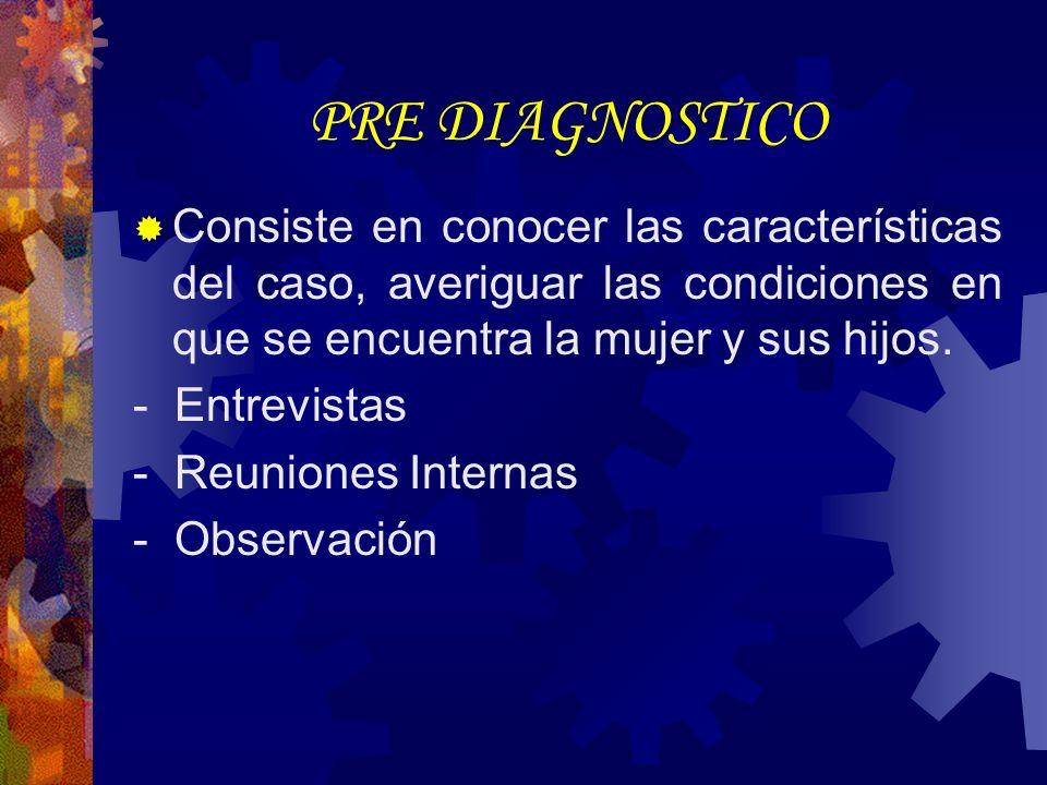 PRE DIAGNOSTICO Consiste en conocer las características del caso, averiguar las condiciones en que se encuentra la mujer y sus hijos.