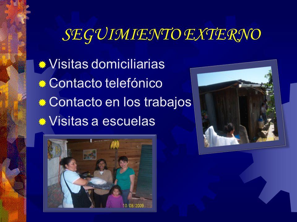 SEGUIMIENTO EXTERNO Visitas domiciliarias Contacto telefónico Contacto en los trabajos Visitas a escuelas