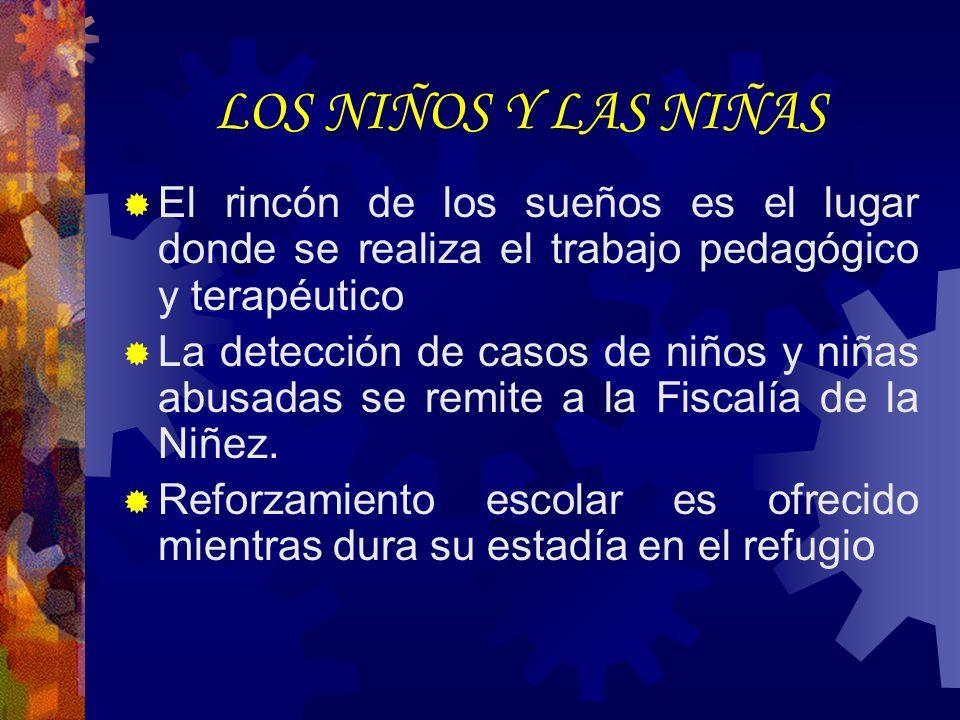 LOS NIÑOS Y LAS NIÑAS El rincón de los sueños es el lugar donde se realiza el trabajo pedagógico y terapéutico La detección de casos de niños y niñas abusadas se remite a la Fiscalía de la Niñez.