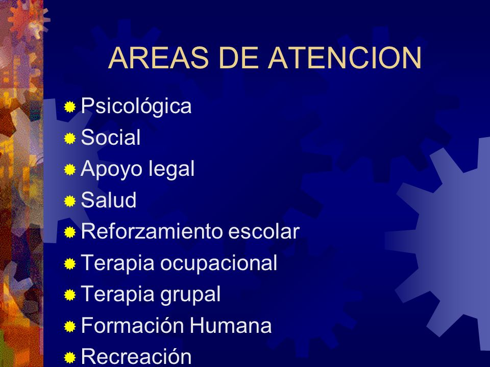 AREAS DE ATENCION Psicológica Social Apoyo legal Salud Reforzamiento escolar Terapia ocupacional Terapia grupal Formación Humana Recreación
