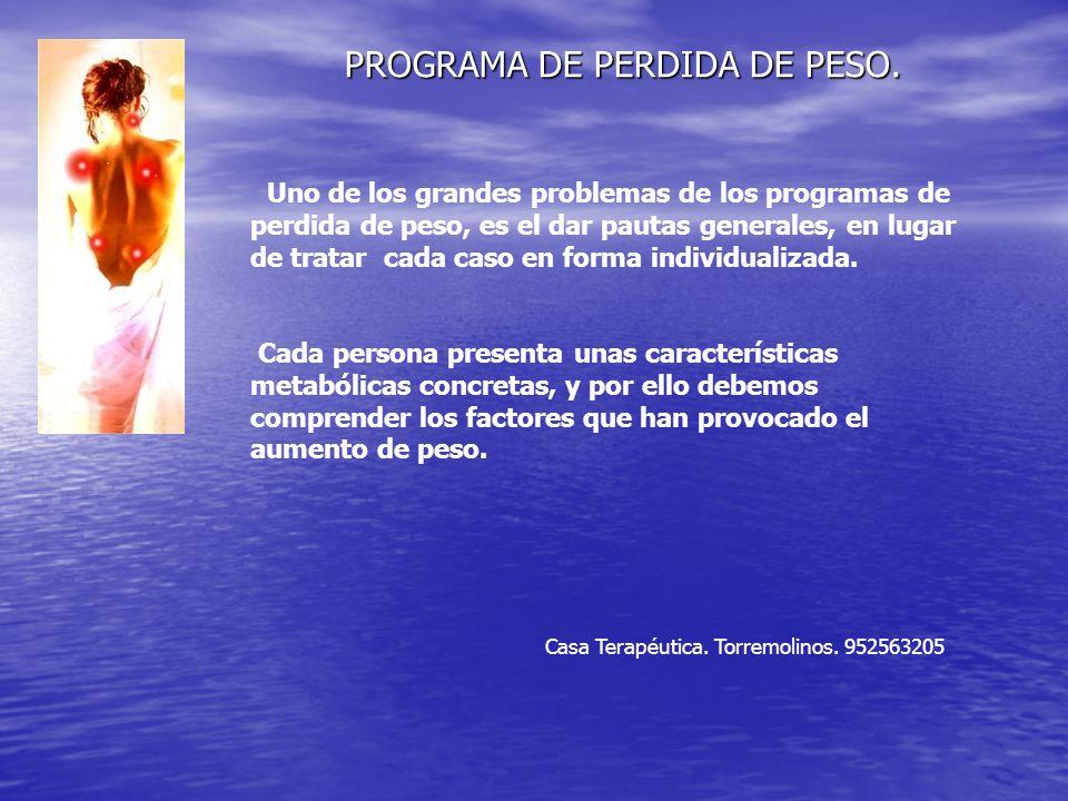 PROGRAMA DE PERDIDA DE PESO.Casa Terapéutica. Torremolinos.