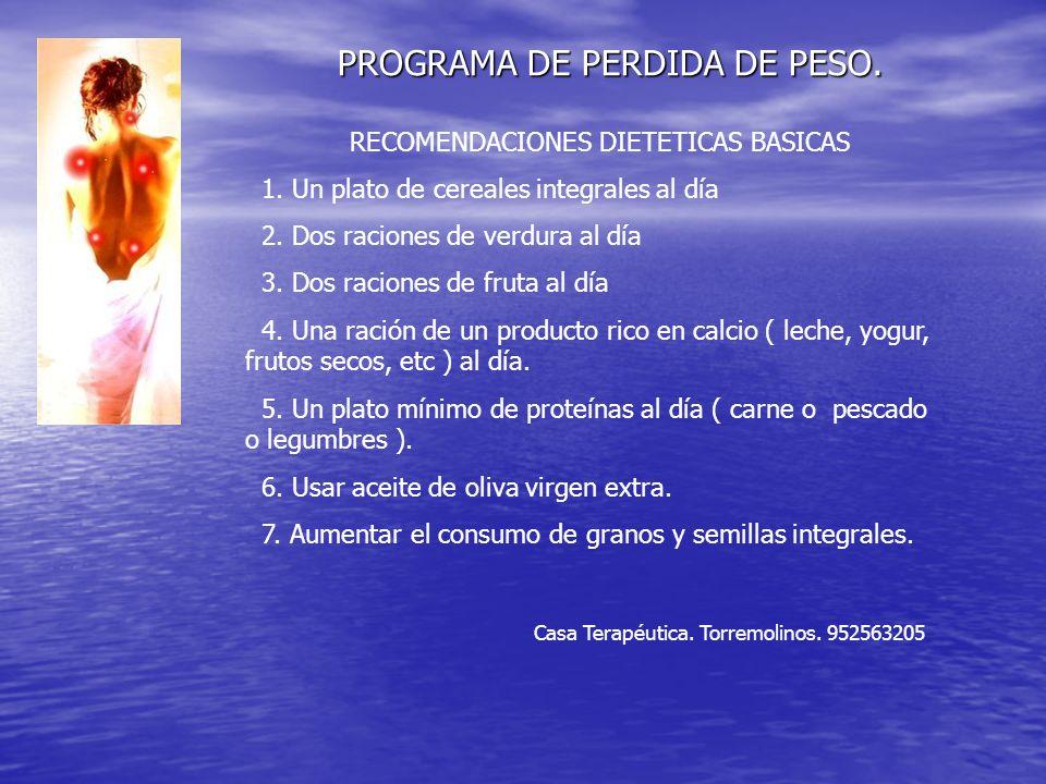 PROGRAMA DE PERDIDA DE PESO. Casa Terapéutica. Torremolinos.