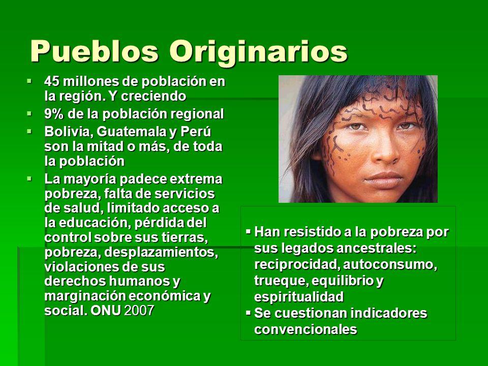 Pueblos Originarios 45 millones de población en la región. Y creciendo 45 millones de población en la región. Y creciendo 9% de la población regional
