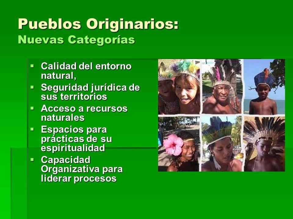 Pueblos Originarios: Nuevas Categorías Calidad del entorno natural, Calidad del entorno natural, Seguridad jurídica de sus territorios Seguridad juríd