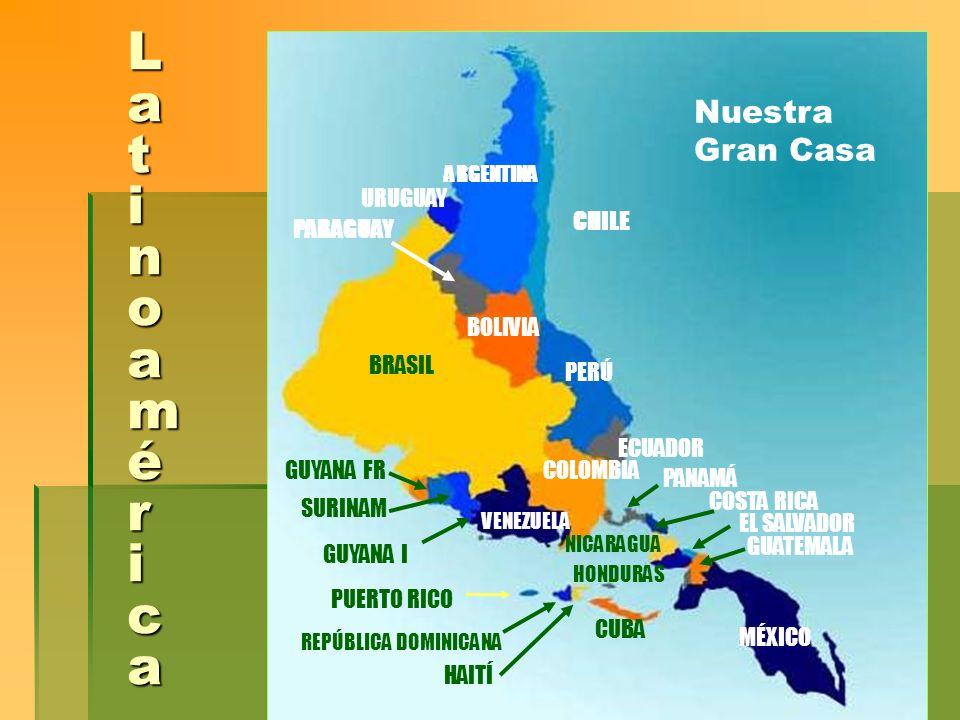 Nuestra gente y Nuestra Casa Población 554 millones Población 554 millones Extensión 20573,441 Km2 Extensión 20573,441 Km2 Grupos étnicos: autóctonos, descendientes de colonizadores o emigrantes europeos más recientes, afrodescendientes y mestizos (mayorìa) Grupos étnicos: autóctonos, descendientes de colonizadores o emigrantes europeos más recientes, afrodescendientes y mestizos (mayorìa) Un tercio de la población de América Latina y el Caribe tiene ancestros africanos.