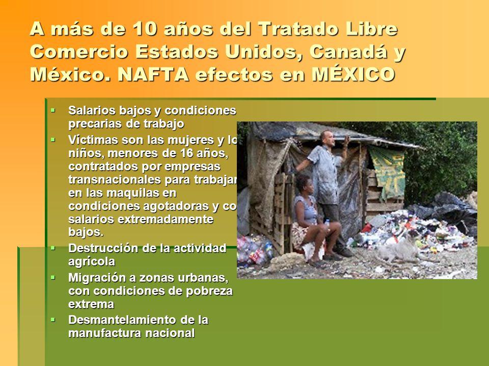 A más de 10 años del Tratado Libre Comercio Estados Unidos, Canadá y México. NAFTA efectos en MÉXICO Salarios bajos y condiciones precarias de trabajo