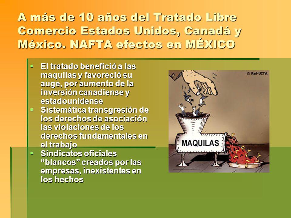 A más de 10 años del Tratado Libre Comercio Estados Unidos, Canadá y México. NAFTA efectos en MÉXICO El tratado benefició a las maquilas y favoreció s