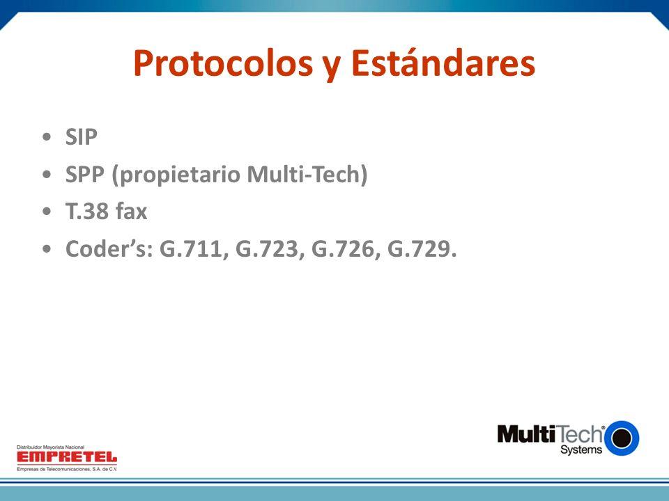 Protocolos y Estándares SIP SPP (propietario Multi-Tech) T.38 fax Coders: G.711, G.723, G.726, G.729.