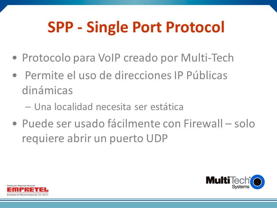 SPP - Single Port Protocol Protocolo para VoIP creado por Multi-Tech Permite el uso de direcciones IP Públicas dinámicas –Una localidad necesita ser estática Puede ser usado fácilmente con Firewall – solo requiere abrir un puerto UDP