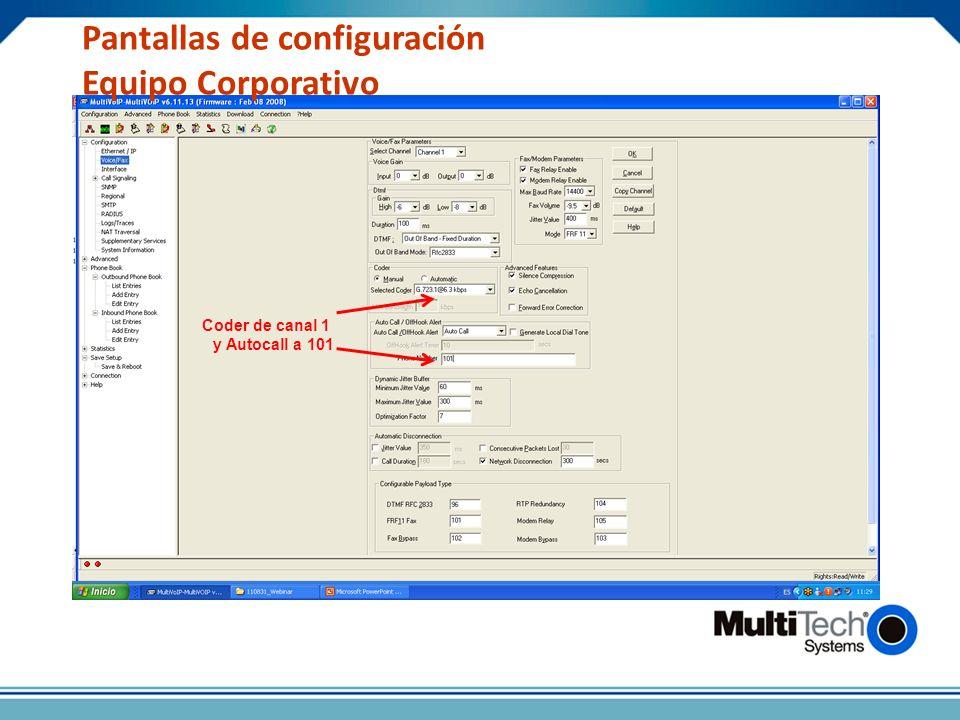 Pantallas de configuración Equipo Corporativo Coder de canal 1 y Autocall a 101