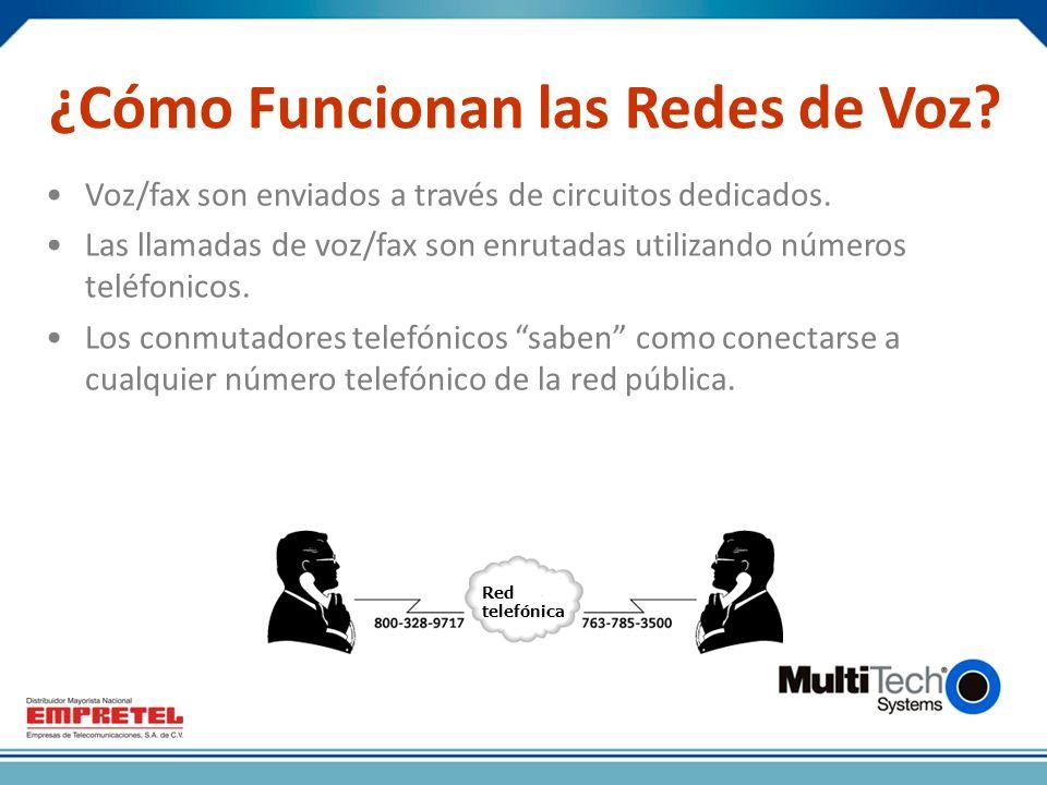 ¿Cómo Funcionan las Redes de Voz.Voz/fax son enviados a través de circuitos dedicados.