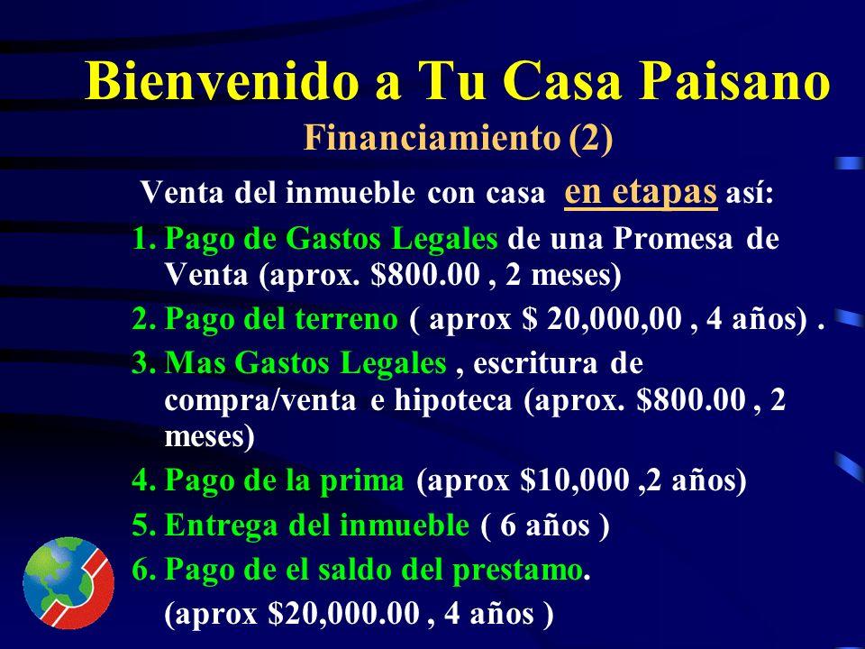 Bienvenido a Tu Casa Paisano Financiamiento (1) 1.Sin Prima/Enganche. 2.Pago Semanal de US$ 100.00. 3.Se aplicara interés bancario a los saldos insolu