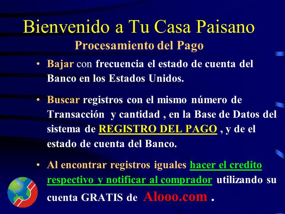Bienvenido a Tu Casa Paisano REGISTRO DEL PAGO (2) Identificación (única) del préstamo que se tiene que acreditar (numero de préstamo). Descripción de