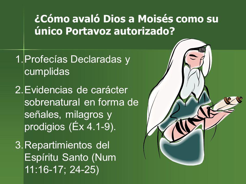 ¿Cómo avaló Dios a Moisés como su único Portavoz autorizado? 1.Profecías Declaradas y cumplidas 2.Evidencias de carácter sobrenatural en forma de seña