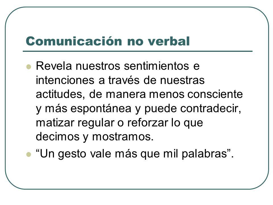 Comunicación no verbal Revela nuestros sentimientos e intenciones a través de nuestras actitudes, de manera menos consciente y más espontánea y puede