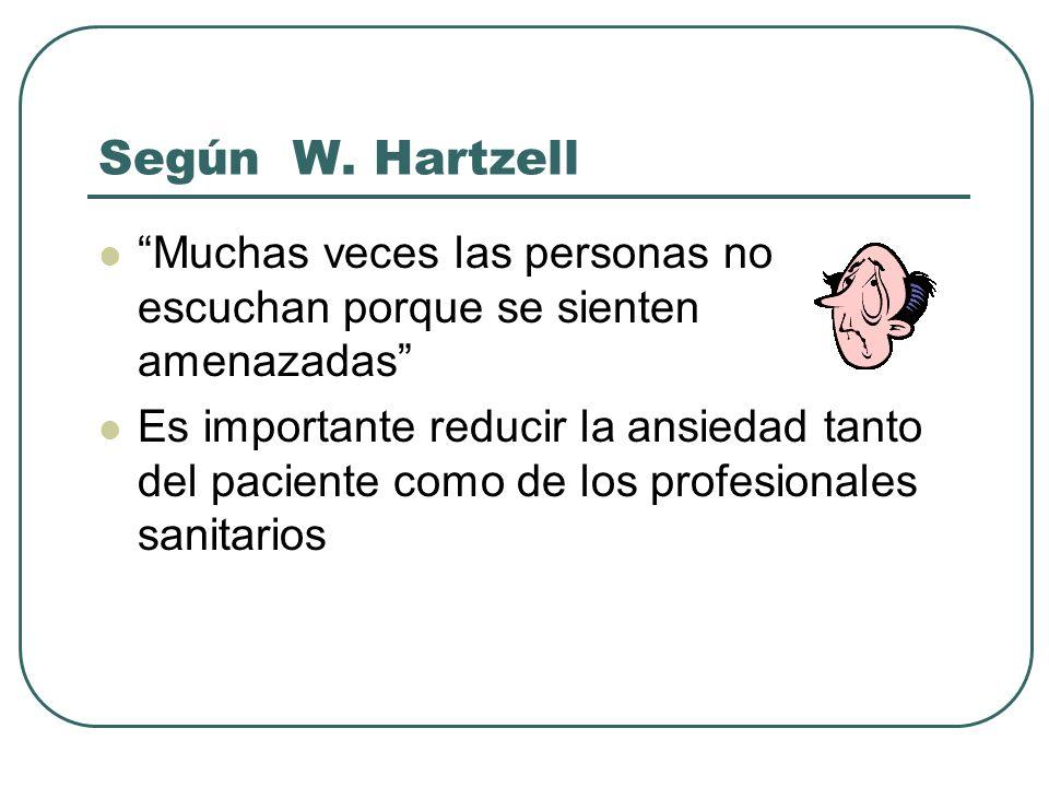 Según W. Hartzell Muchas veces las personas no escuchan porque se sienten amenazadas Es importante reducir la ansiedad tanto del paciente como de los