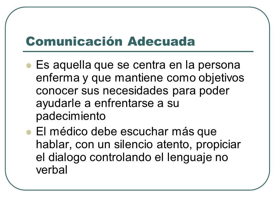 Comunicación Adecuada Es aquella que se centra en la persona enferma y que mantiene como objetivos conocer sus necesidades para poder ayudarle a enfre
