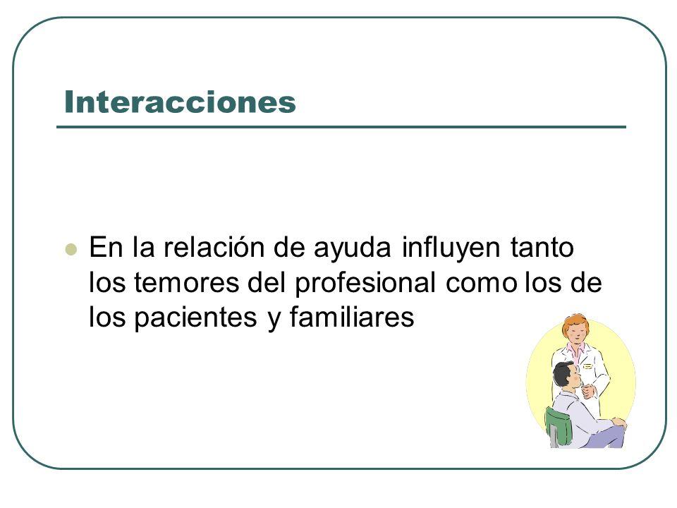 Interacciones En la relación de ayuda influyen tanto los temores del profesional como los de los pacientes y familiares