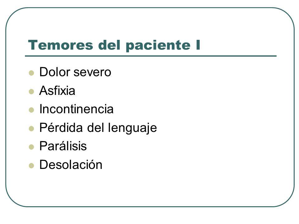 Temores del paciente I Dolor severo Asfixia Incontinencia Pérdida del lenguaje Parálisis Desolación