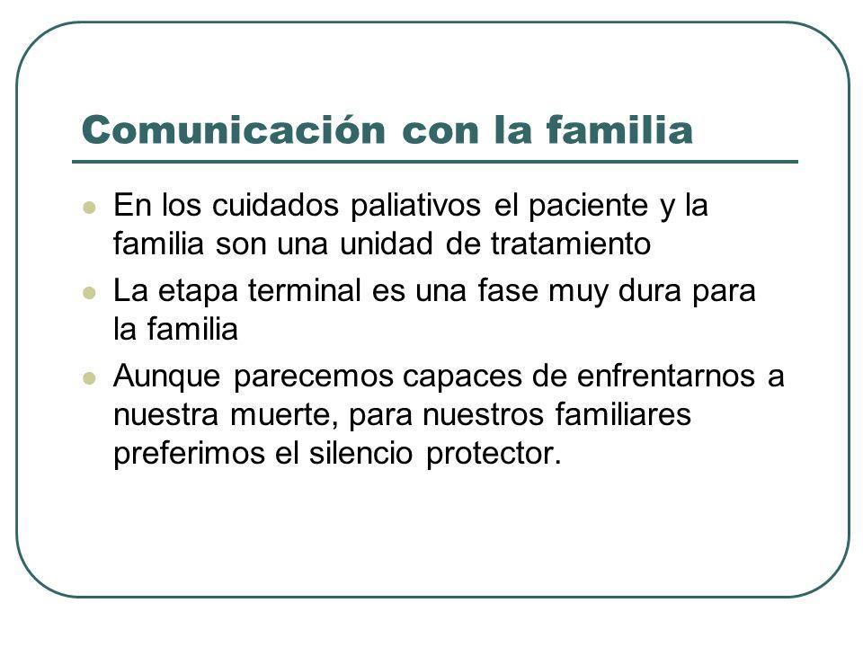 Comunicación con la familia En los cuidados paliativos el paciente y la familia son una unidad de tratamiento La etapa terminal es una fase muy dura p