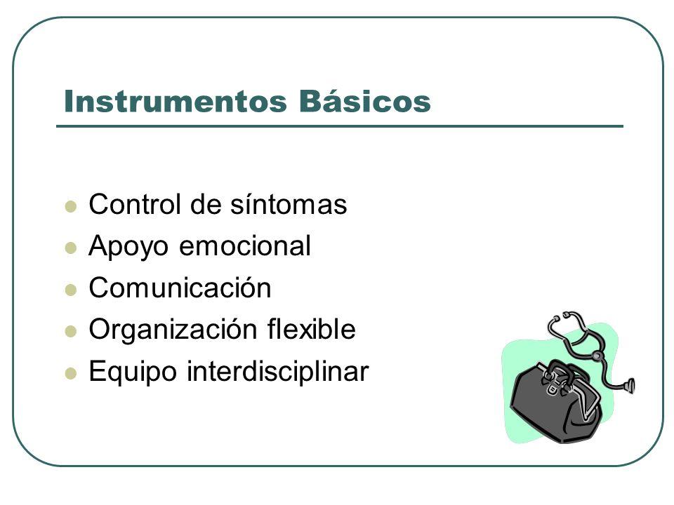 Instrumentos Básicos Control de síntomas Apoyo emocional Comunicación Organización flexible Equipo interdisciplinar