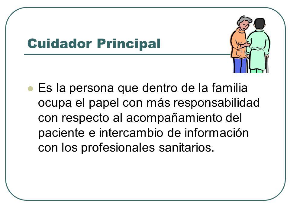 Cuidador Principal Es la persona que dentro de la familia ocupa el papel con más responsabilidad con respecto al acompañamiento del paciente e interca