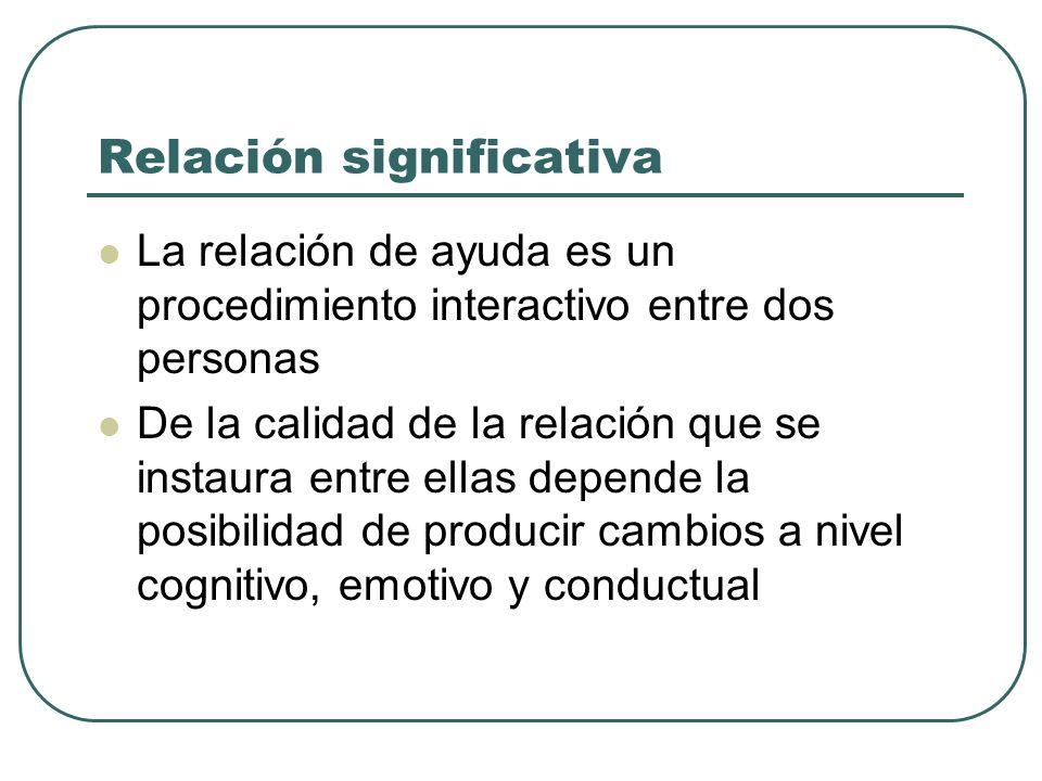 Relación significativa La relación de ayuda es un procedimiento interactivo entre dos personas De la calidad de la relación que se instaura entre ella