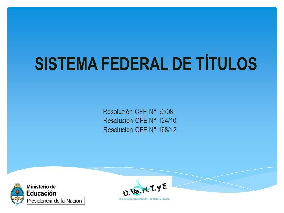 SISTEMA FEDERAL DE TÍTULOS Resolución CFE N° 59/08 Resolución CFE N° 124/10 Resolución CFE N° 168/12