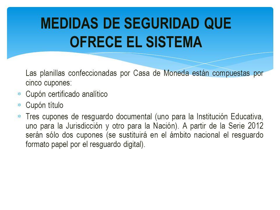 MEDIDAS DE SEGURIDAD QUE OFRECE CASA DE MONEDA DISEÑO Serie 2010 Planillas de 17´´ x 14´´ (doble oficio).