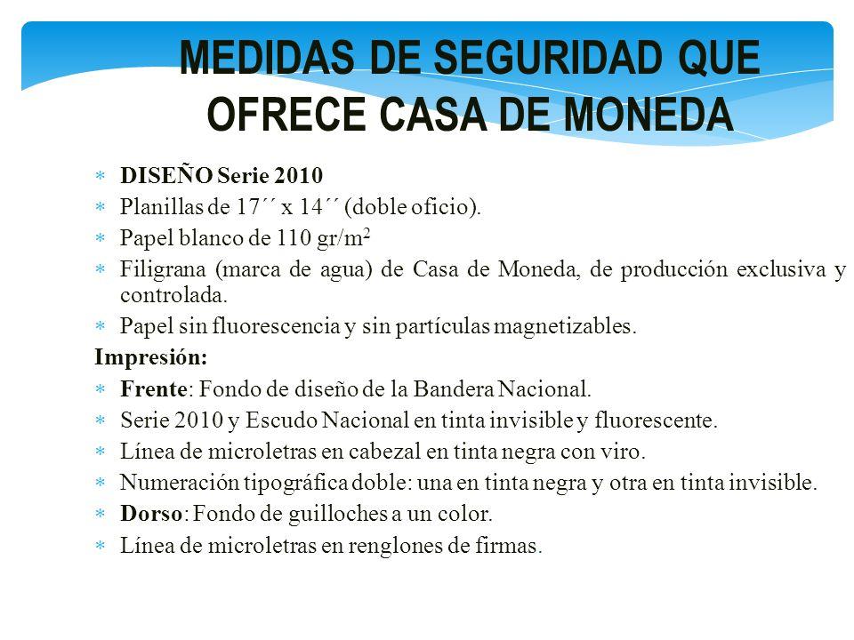 MEDIDAS DE SEGURIDAD QUE OFRECE CASA DE MONEDA DISEÑO Serie 2010 Planillas de 17´´ x 14´´ (doble oficio). Papel blanco de 110 gr/m 2 Filigrana (marca
