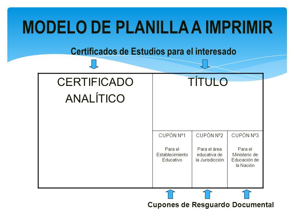 Primera etapa de implementación : A partir del año 2009 en las provincias del CHACO, CORRIENTES, FORMOSA, JUJUY, SANTIAGO DEL ESTERO, TUCUMÁN e instituciones educativas de JURISDICCIÓN NACIONAL (Planillas Serie 2008).