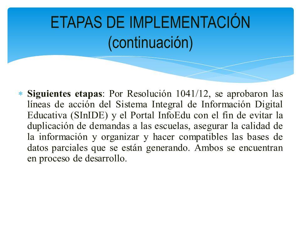 Siguientes etapas: Por Resolución 1041/12, se aprobaron las líneas de acción del Sistema Integral de Información Digital Educativa (SInIDE) y el Porta