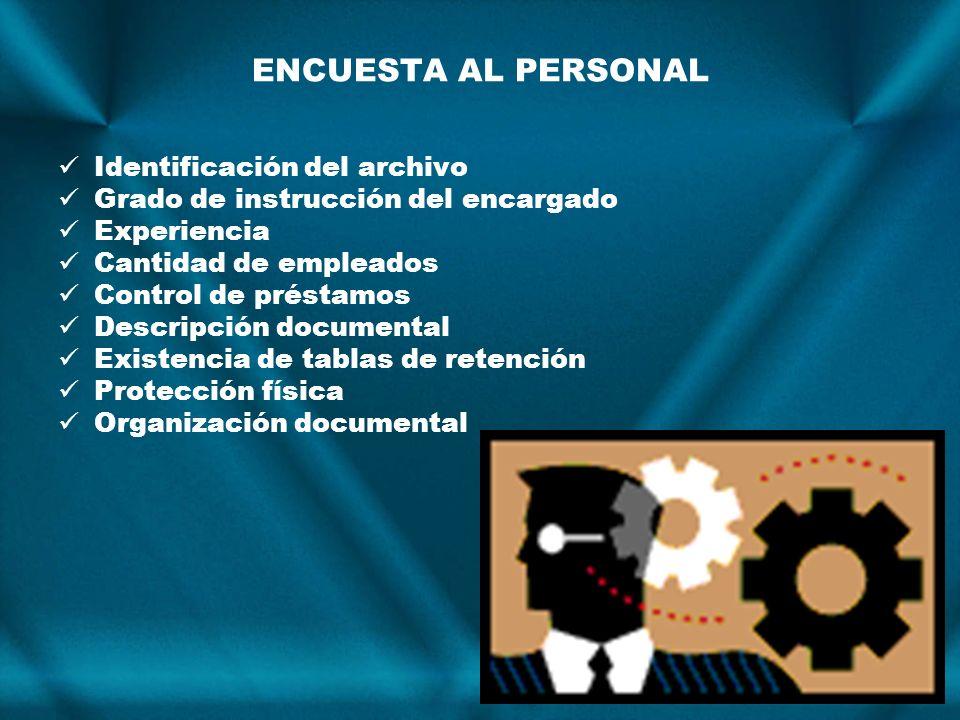 Identificación del archivo Grado de instrucción del encargado Experiencia Cantidad de empleados Control de préstamos Descripción documental Existencia