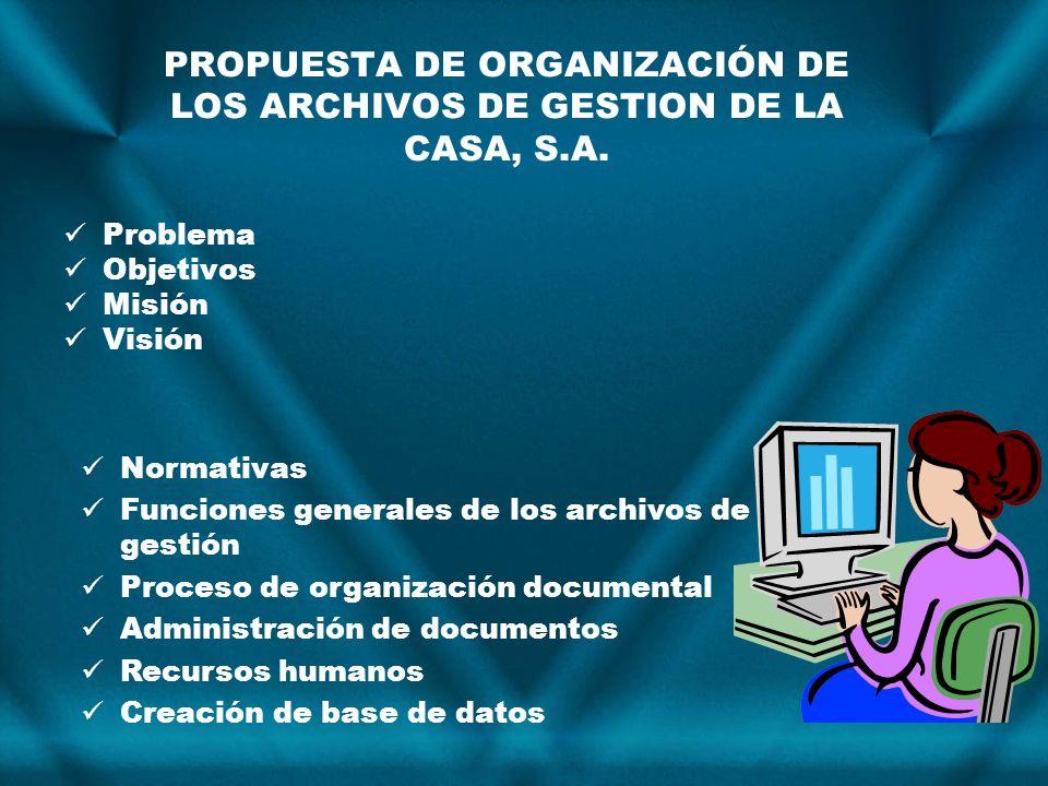 PROPUESTA DE ORGANIZACIÓN DE LOS ARCHIVOS DE GESTION DE LA CASA, S.A. Problema Objetivos Misión Visión Normativas Funciones generales de los archivos