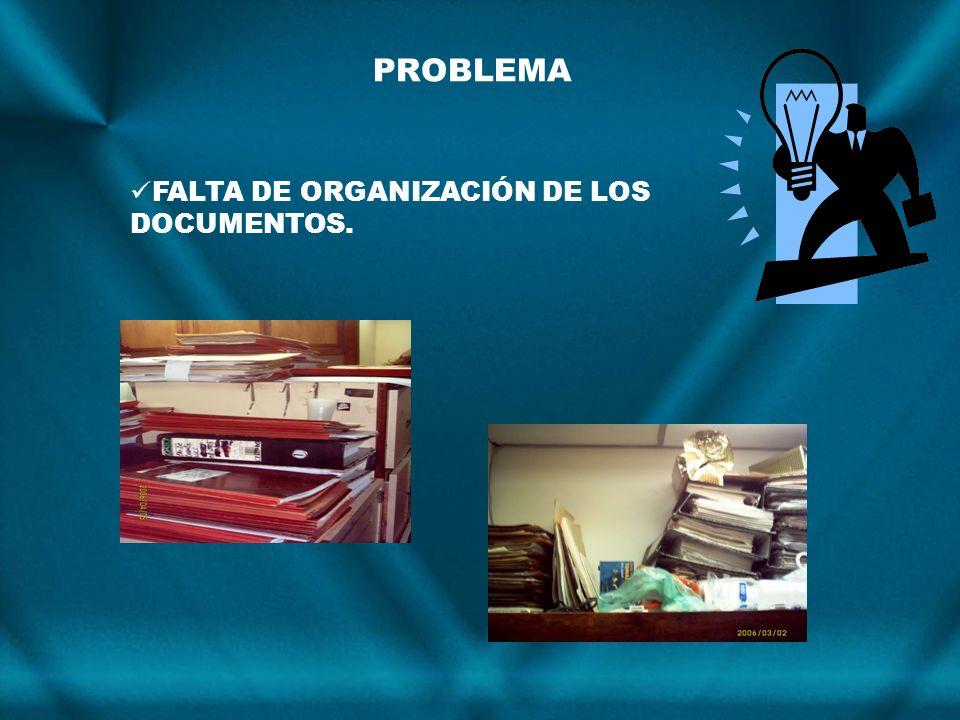 PROBLEMA FALTA DE ORGANIZACIÓN DE LOS DOCUMENTOS.