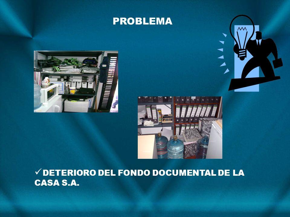 DETERIORO DEL FONDO DOCUMENTAL DE LA CASA S.A. PROBLEMA