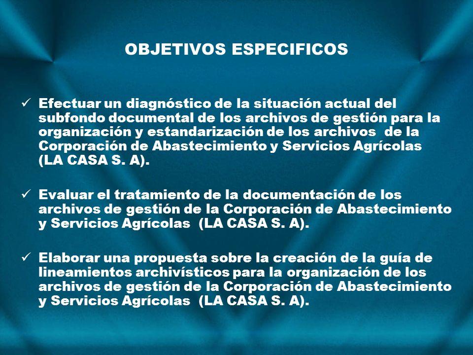 OBJETIVOS ESPECIFICOS Efectuar un diagnóstico de la situación actual del subfondo documental de los archivos de gestión para la organización y estanda