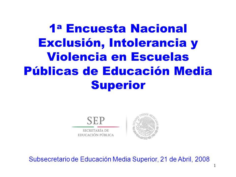 1 a Encuesta Nacional Exclusión, Intolerancia y Violencia en Escuelas Públicas de Educación Media Superior 1 Subsecretario de Educación Media Superior
